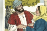 Joseph, near tree, holding Mary's hands