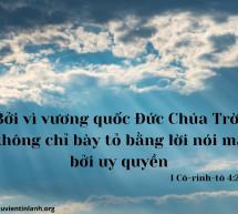 Lời Chúa Mỗi Ngày: I Cô-rinh-tô 4:20